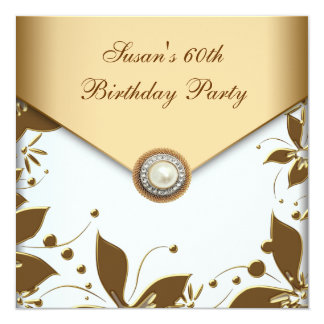"Gold Pearl Flower Swirl Womans 60th Birthday Party 5.25"" Square Invitation Card"