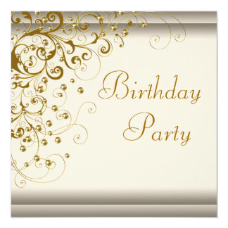 Gold Pearl Swirl Womans Ivory Gold Birthday Party 13 Cm X 13 Cm Square Invitation Card