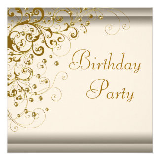 Gold Pearl Swirl Womans Ivory Gold Birthday Party Announcement