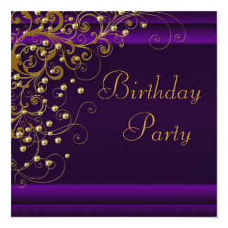Gold Pearl Swirl Womans Purple Birthday Party 13 Cm X 13 Cm Square Invitation Card