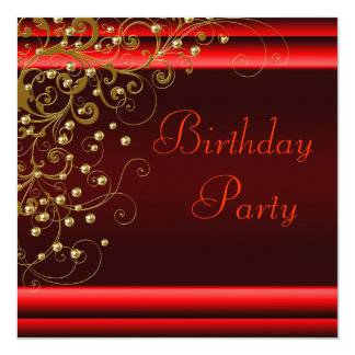 Gold Pearl Swirl Womans Red Black Birthday Party Card