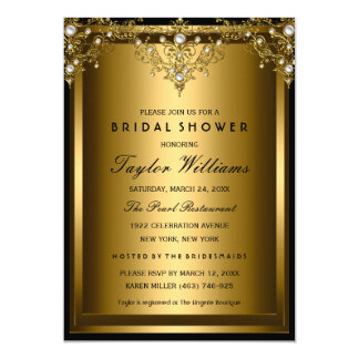 Gold Pearl Vintage Glamour Bridal Shower Invite