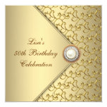 Gold Pearl Womans 50th Birthday Party 13 Cm X 13 Cm Square Invitation Card