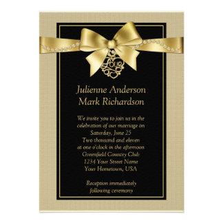 Gold Pearls and Ribbon on Black Wedding Invitation