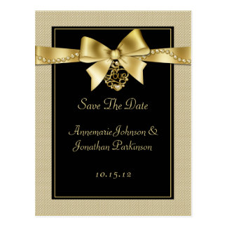 Gold Pearls Ribbon on Black Save The Date Postcard