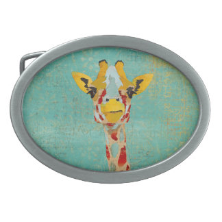 Gold Peeking Giraffe Belt Buckle