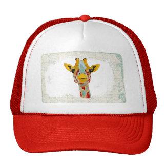 Gold Peeking Giraffe  Lid Trucker Hats