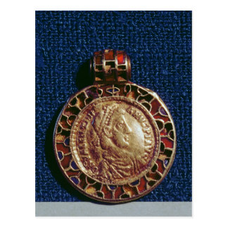 Gold pendant in the form of a coin postcard