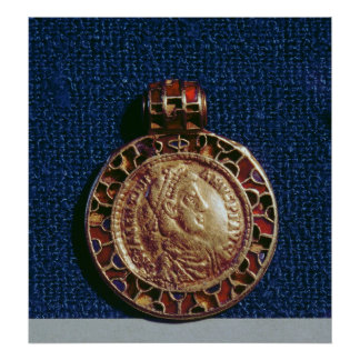 Gold pendant in the form of a coin poster