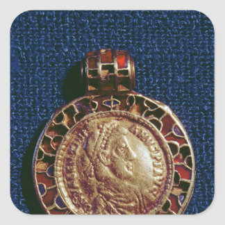 Gold pendant in the form of a coin square sticker