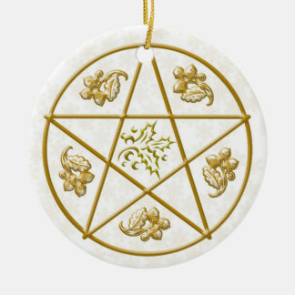 Gold Pentacle, Holly & Oak Ceramic Ornament