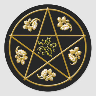Gold Pentacle, Holly & Oak Leaves Acorns on Black Round Sticker