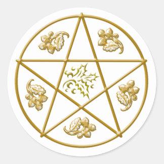 Gold Pentacle, Holly & Oak Leaves Acorns - Sticker