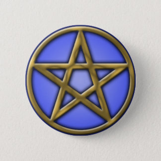 Gold Pentacle on Air 6 Cm Round Badge