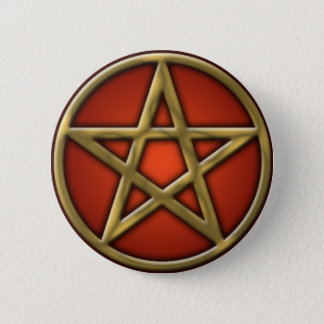 Gold Pentacle on Fire 6 Cm Round Badge