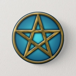 Gold Pentacle on Water 6 Cm Round Badge