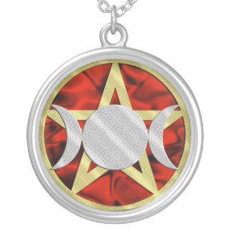 Gold Pentagram Silver Triple Goddess Silver Plated Necklace