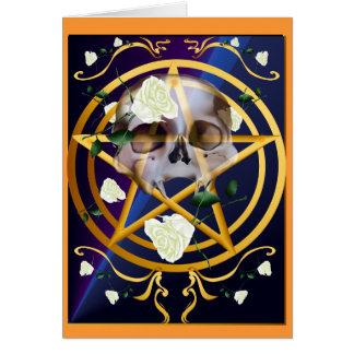 Gold Pentagram-Skull-White Roses Card