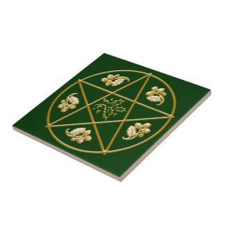 Gold Pentagram, with Oak & Holly - Tile/Trivet #4 Small Square Tile