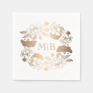 Gold Peonies - Floral Wreath Garden Wedding Disposable Serviettes