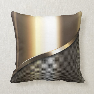 gold perforated steel with chrome and metal throw cushion