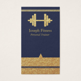 Gold Personal Trainer Fitness Business Card Blue