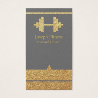 Gold Personal Trainer Fitness Business Card Gray