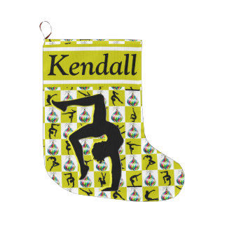 GOLD PERSONALIZED GYMNAST GIRL CHRISTMAS STOCKING