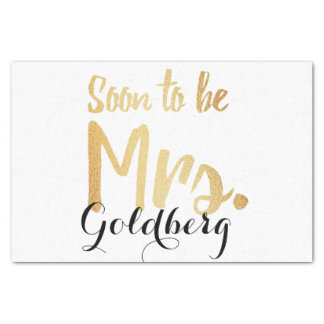 gold personalized last name wedding paper