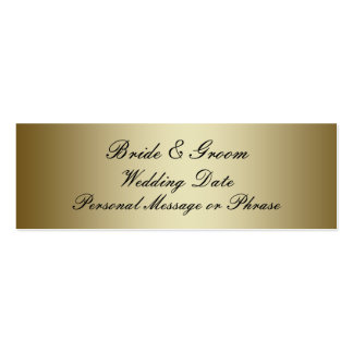 Gold Personalized Wedding Favor Tag Template Pack Of Skinny Business Cards