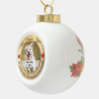 Gold Pet Memorial - Forever Remembered Ceramic Ball Christmas Ornament