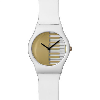 Gold Piano Keyboard Music Watch