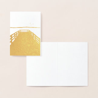 Gold Pier with Birds Blank Card