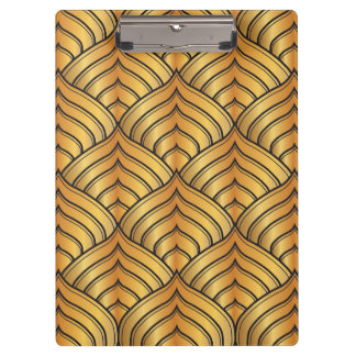 Gold Pine Comb and Black Ink Art Deco Pattern Clipboard