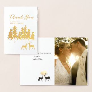 Gold Pine Deer Woodland Wedding Photo Thank You Foil Card
