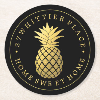 Gold Pineapple | Address With Text Round Paper Coaster