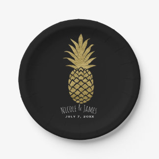 Gold Pineapple Black Modern Chic Tropical Party Paper Plate