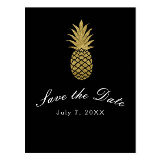 Gold Pineapple Black Modern Tropical Save the Date Postcard