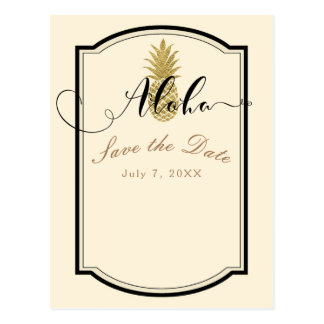 Gold Pineapple Cream Black Tropical Save the Date Postcard