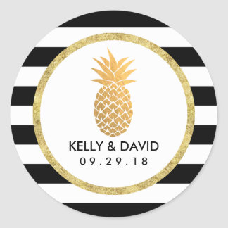 Gold Pineapple Modern Stripes Tropical Wedding Round Sticker