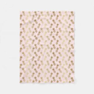 Gold Pineapple Pattern Fleece Blanket