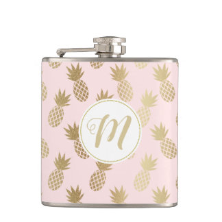 Gold Pineapple Pattern Hip Flask