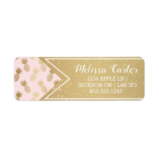Gold Pineapple Pattern & Ribbon Return Address Label