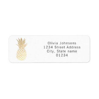 gold pineapple return address label