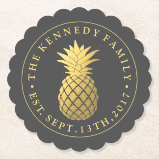 Gold Pineapple | With Family Name & Est. Date Paper Coaster