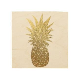 Gold Pineapple Wood Wall Art