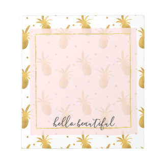 Gold Pineapples and Dots Notepad
