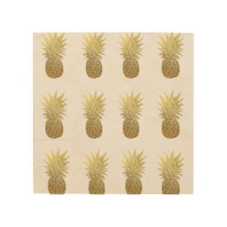 Gold Pineapples Wood Wall Art