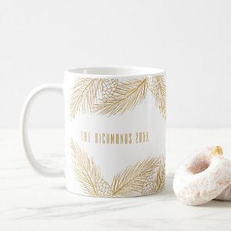 Gold Pinecones and Pine Needles Holiday Mug