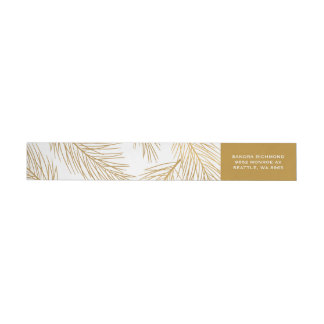 Gold Pinecones and Pine Needles Holiday Wrap Around Label